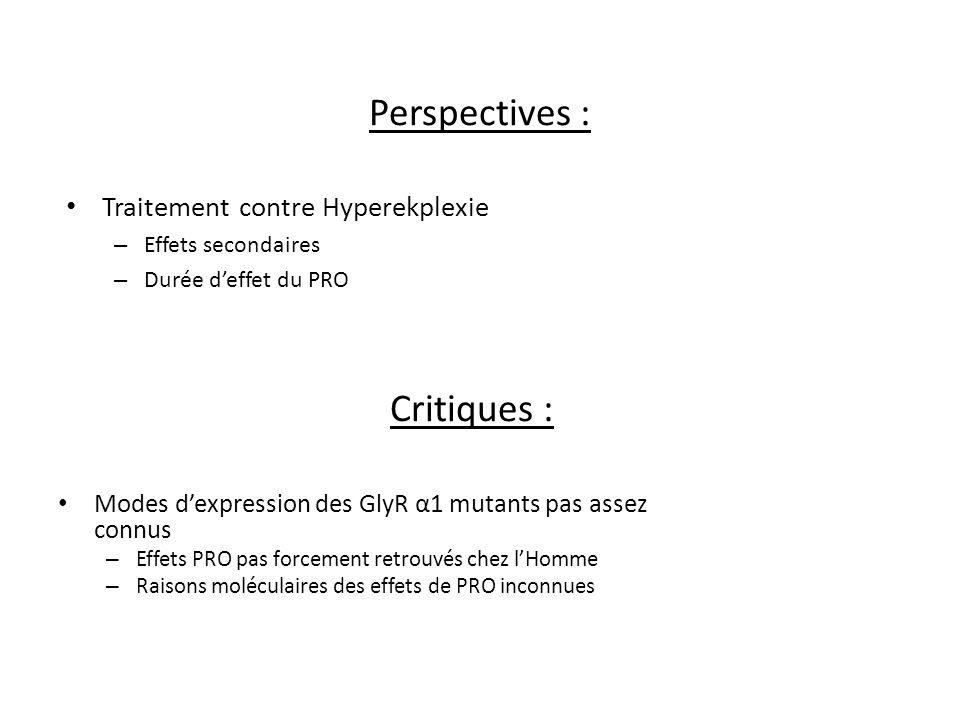 Perspectives : Critiques : Traitement contre Hyperekplexie