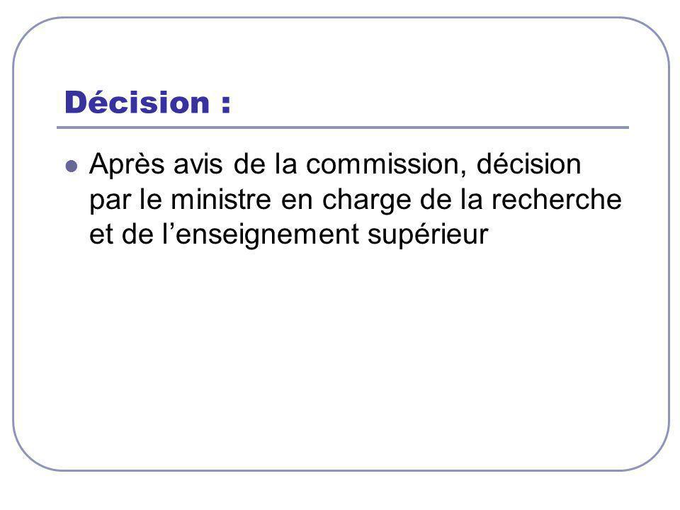 Décision : Après avis de la commission, décision par le ministre en charge de la recherche et de l'enseignement supérieur.