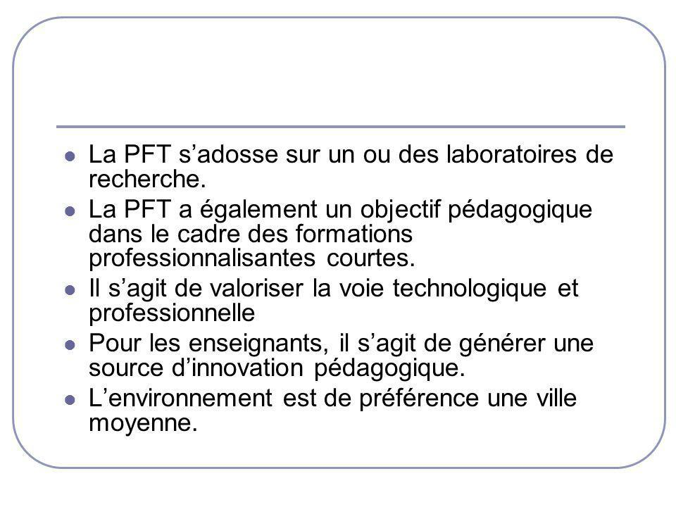 La PFT s'adosse sur un ou des laboratoires de recherche.