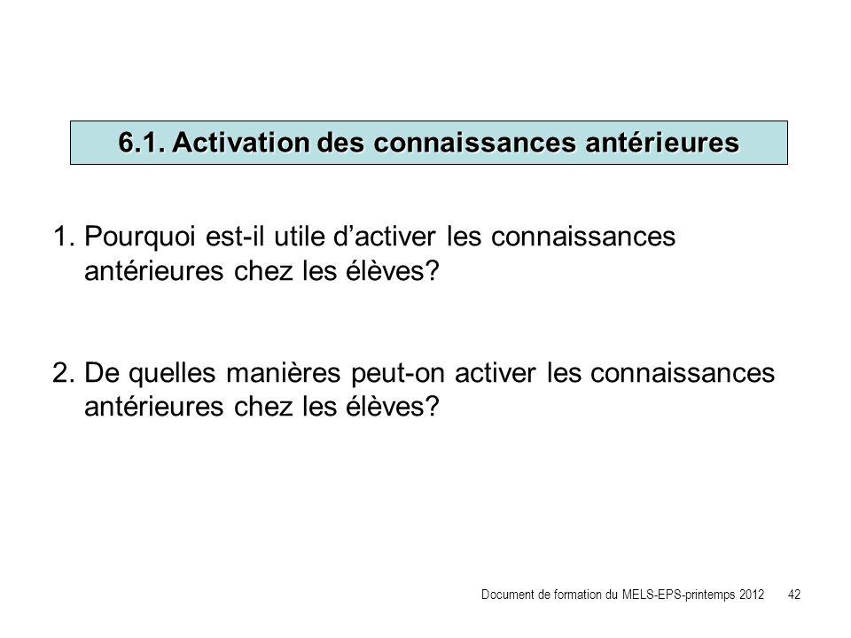 6.1. Activation des connaissances antérieures