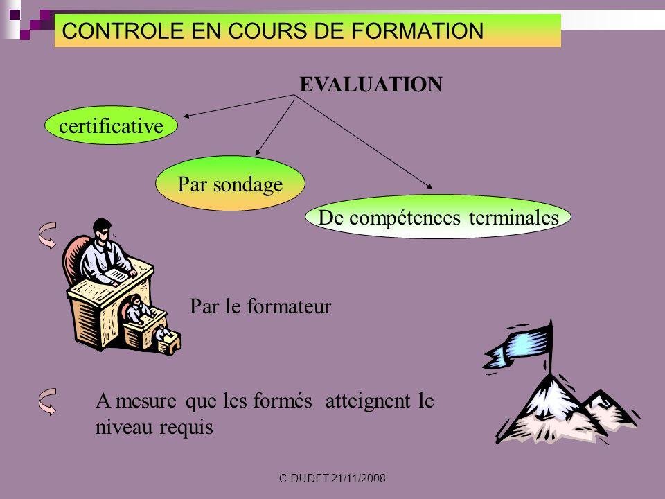 CONTROLE EN COURS DE FORMATION