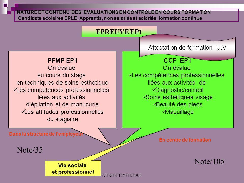Note/35 Note/105 EPREUVE EP1 Attestation de formation U.V PFMP EP1