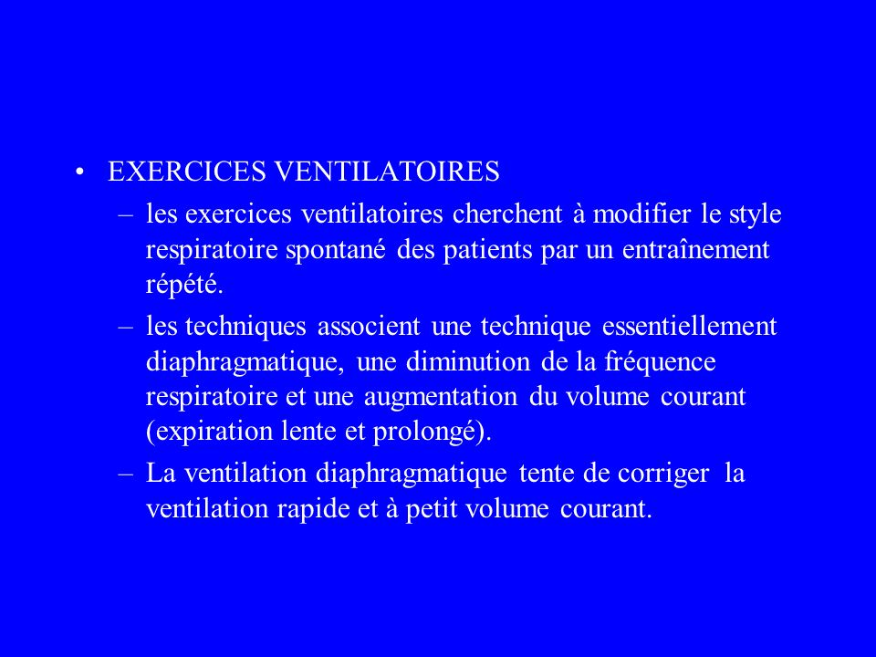 EXERCICES VENTILATOIRES