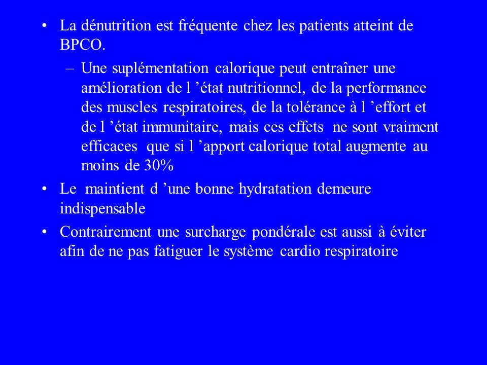 La dénutrition est fréquente chez les patients atteint de BPCO.