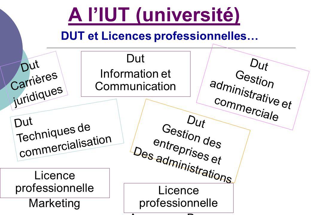 DUT et Licences professionnelles…