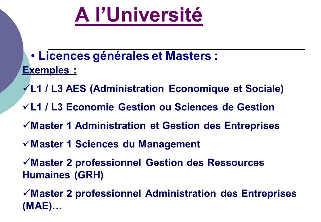 A l'Université Licences générales et Masters : Exemples :