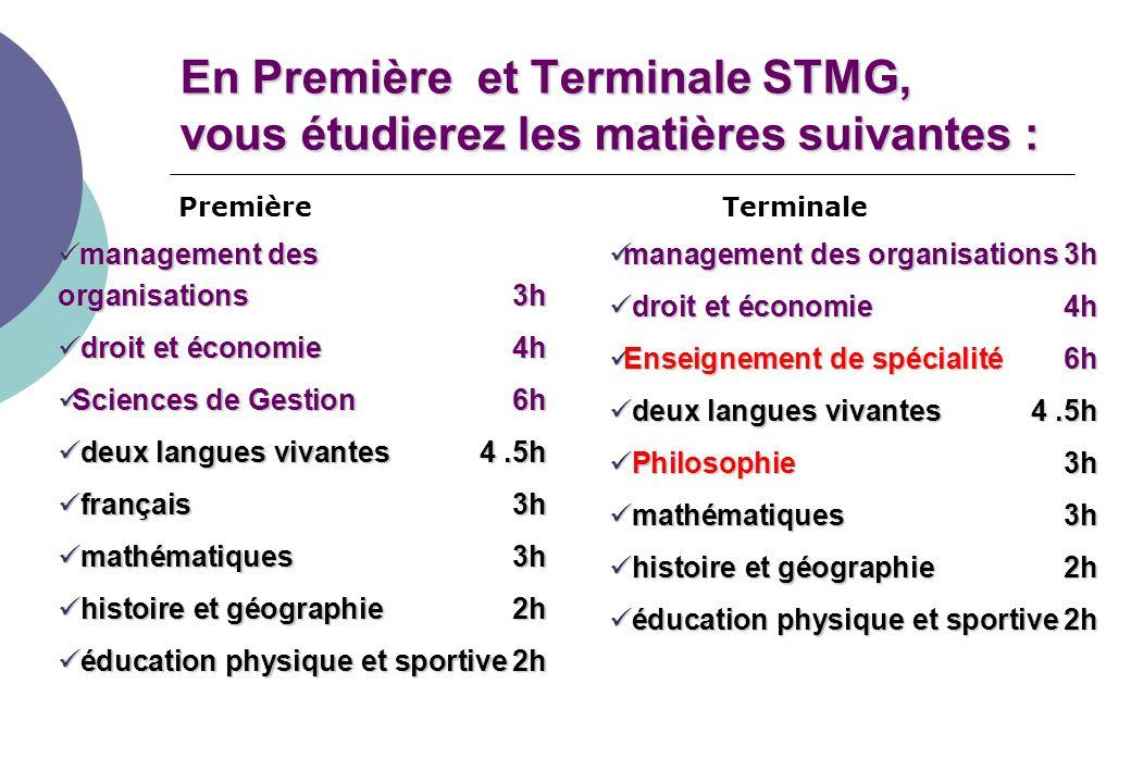En Première et Terminale STMG, vous étudierez les matières suivantes :