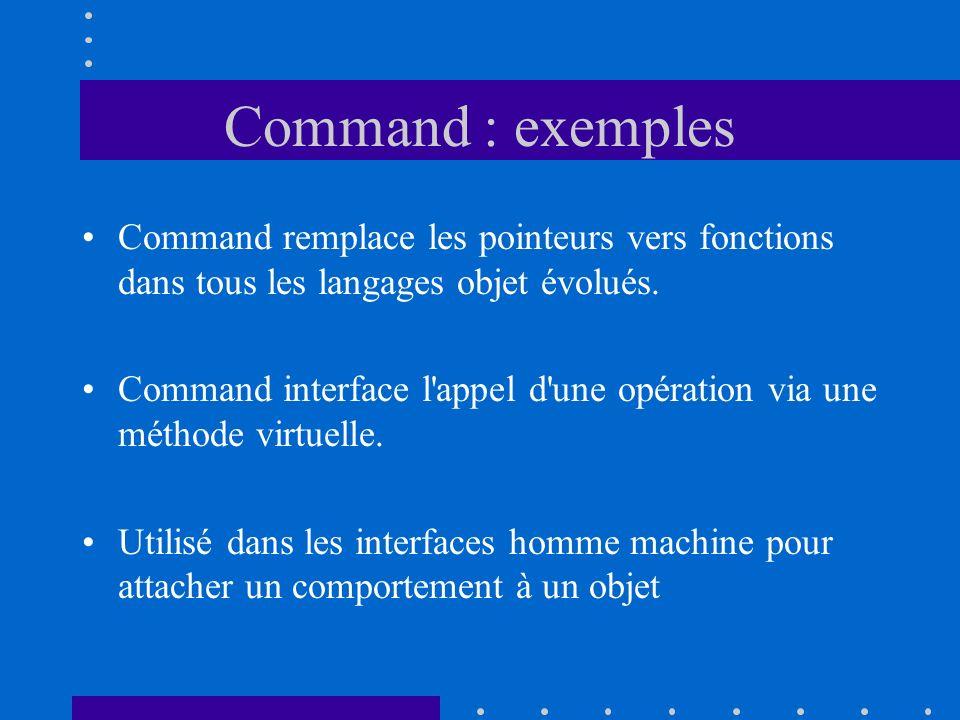 Command : exemples Command remplace les pointeurs vers fonctions dans tous les langages objet évolués.