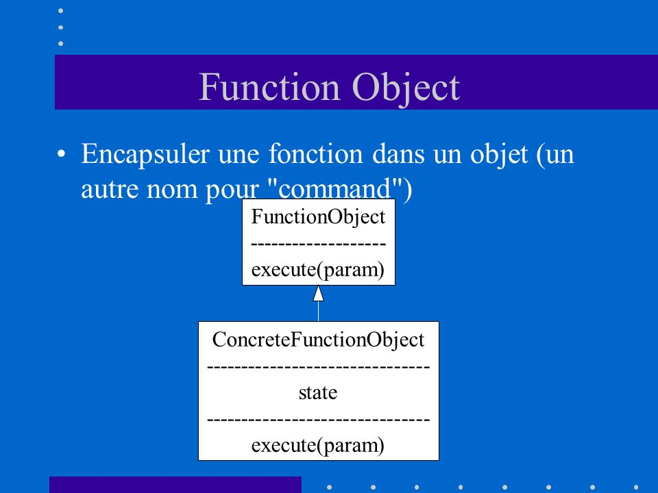 Function Object Encapsuler une fonction dans un objet (un autre nom pour command ) FunctionObject.