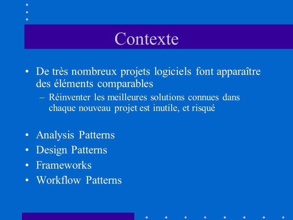 Contexte De très nombreux projets logiciels font apparaître des éléments comparables.