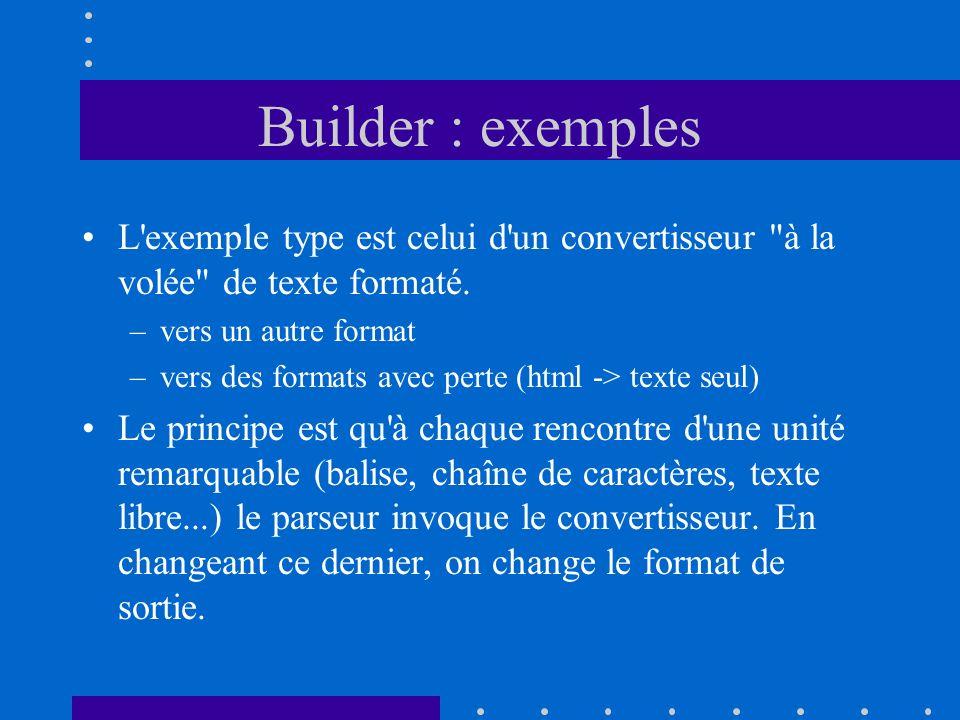 Builder : exemples L exemple type est celui d un convertisseur à la volée de texte formaté. vers un autre format.