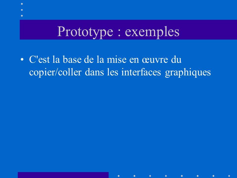 Prototype : exemples C est la base de la mise en œuvre du copier/coller dans les interfaces graphiques.