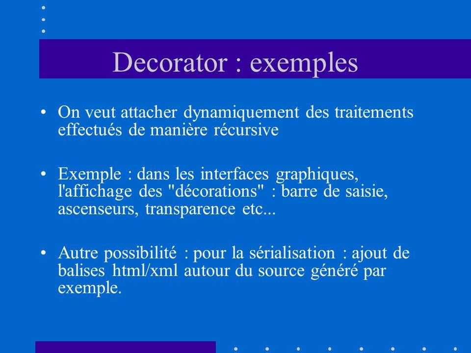 Decorator : exemples On veut attacher dynamiquement des traitements effectués de manière récursive.