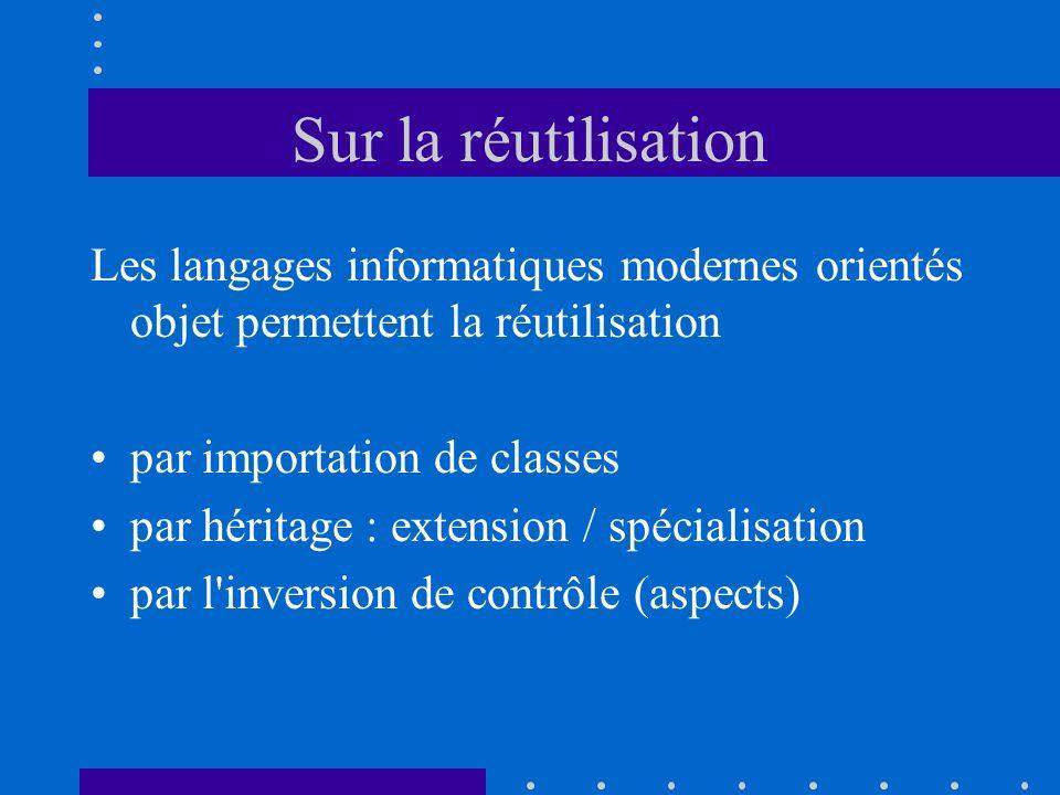 Sur la réutilisation Les langages informatiques modernes orientés objet permettent la réutilisation.