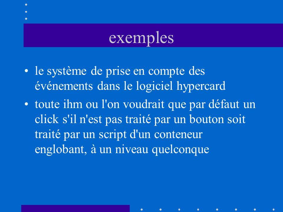 exemples le système de prise en compte des événements dans le logiciel hypercard.