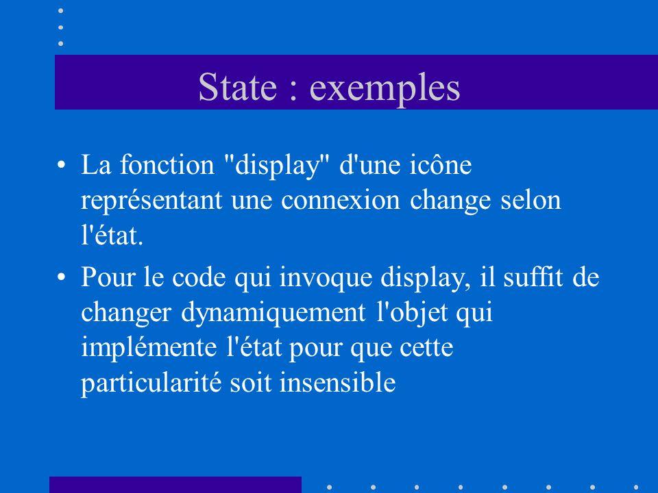 State : exemples La fonction display d une icône représentant une connexion change selon l état.