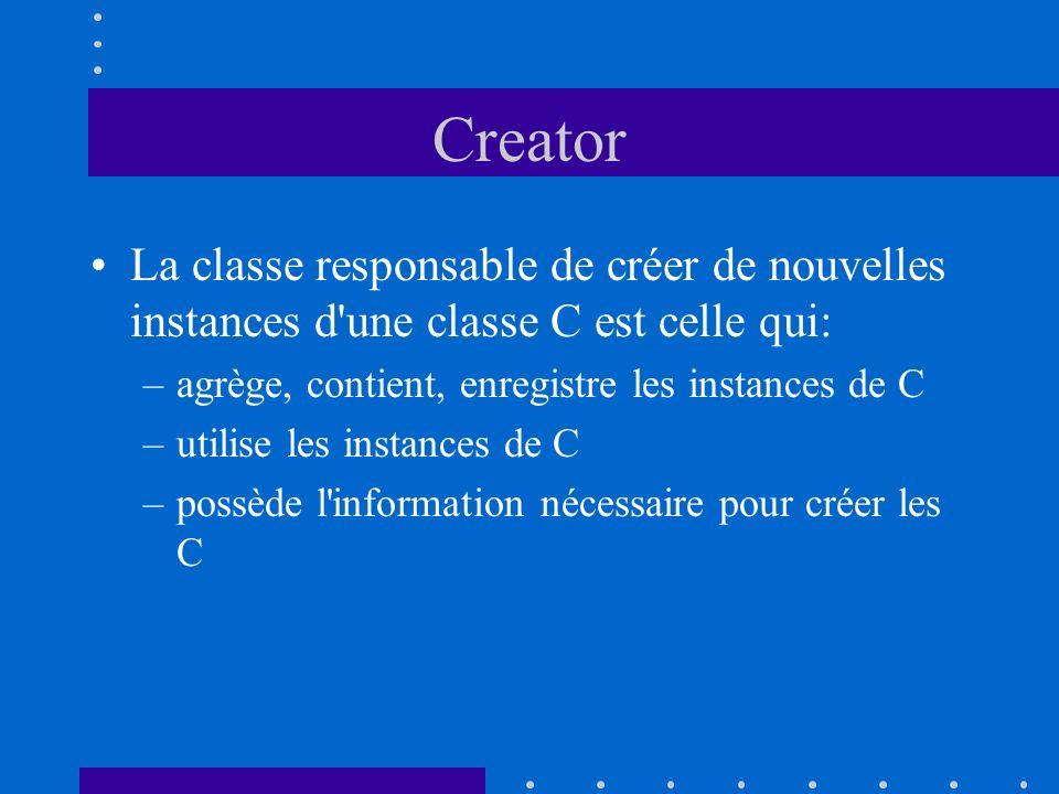 Creator La classe responsable de créer de nouvelles instances d une classe C est celle qui: agrège, contient, enregistre les instances de C.