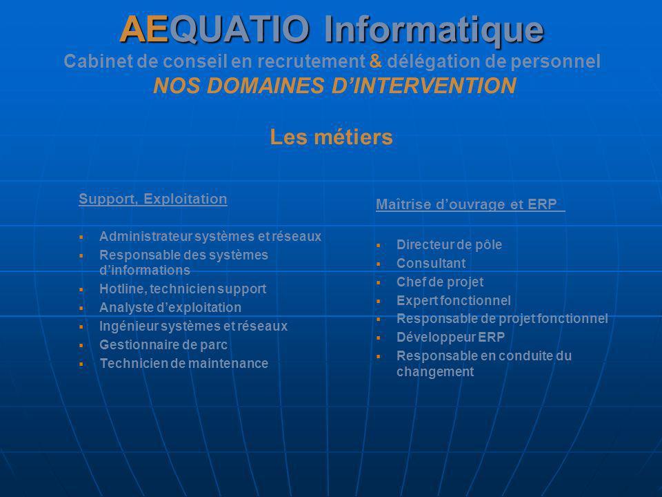 AEQUATIO Informatique Cabinet de conseil en recrutement & délégation de personnel NOS DOMAINES D'INTERVENTION Les métiers
