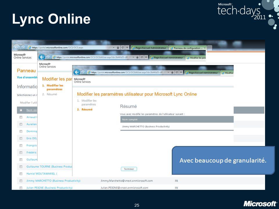 Lync Online Les options utilisateurs liées à Lync manageables…