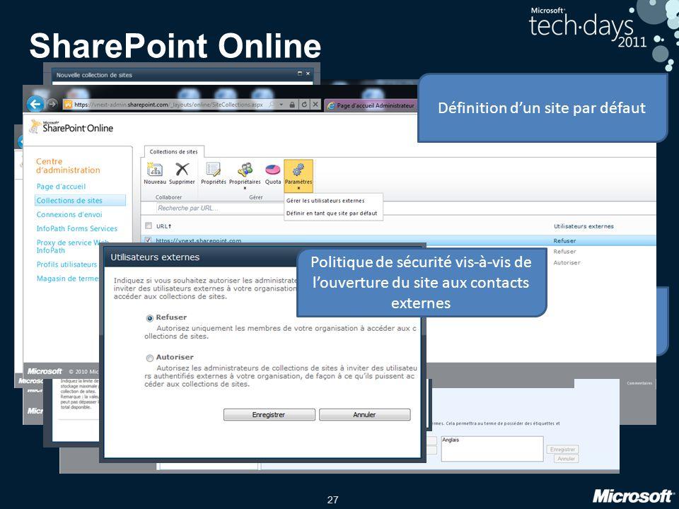 SharePoint Online Définition d'un site par défaut