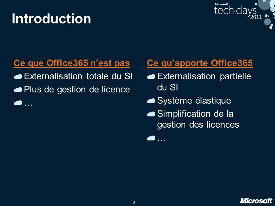 Introduction Ce que Office365 n'est pas Externalisation totale du SI