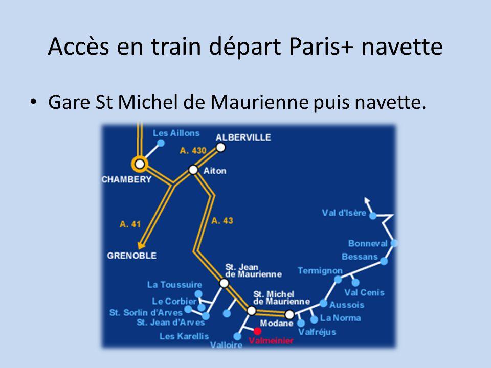 Accès en train départ Paris+ navette
