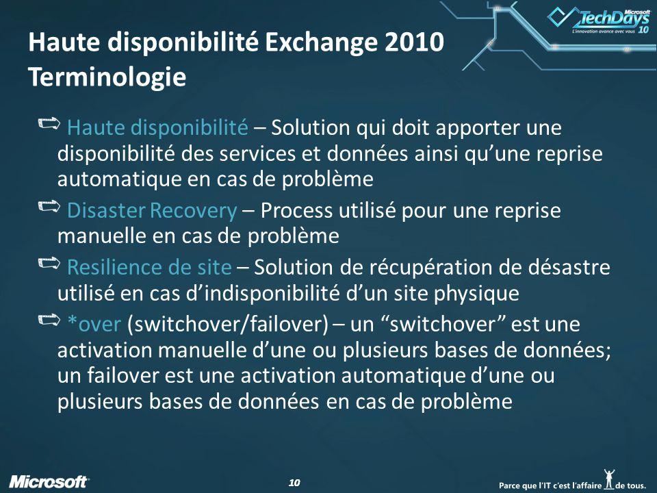 Haute disponibilité Exchange 2010 Terminologie