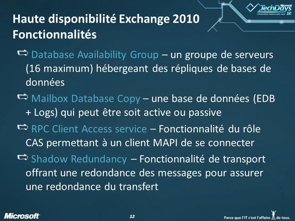 Haute disponibilité Exchange 2010 Fonctionnalités