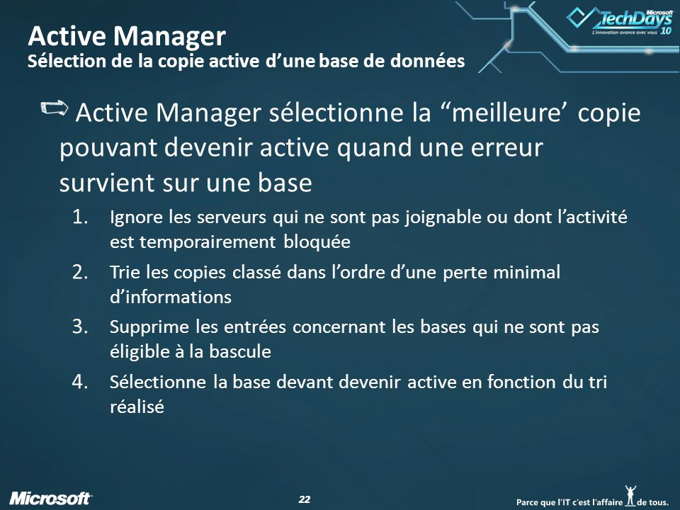 Active Manager Sélection de la copie active d'une base de données