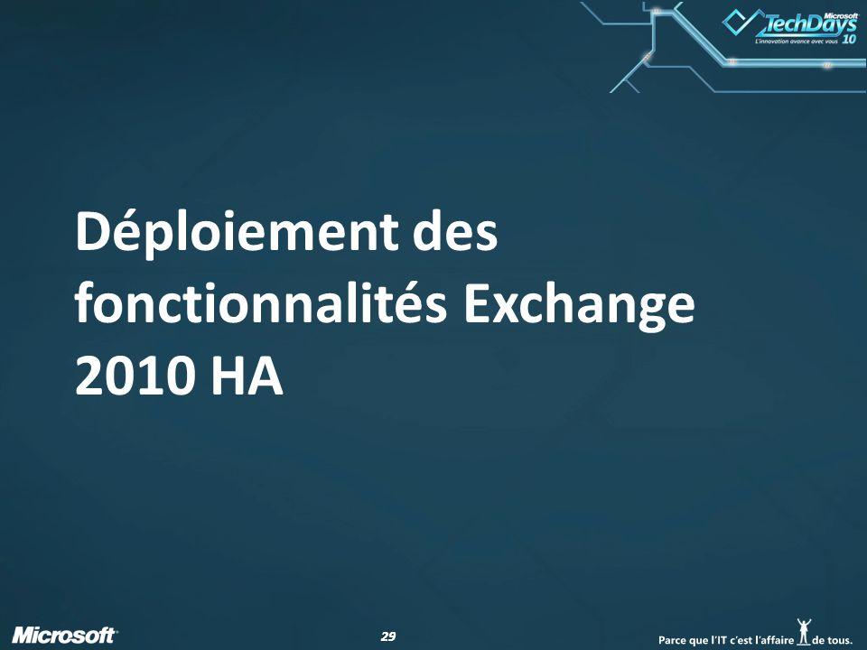 Déploiement des fonctionnalités Exchange 2010 HA