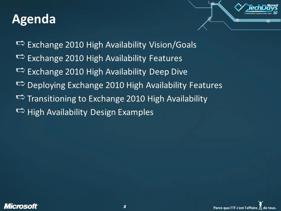 Agenda Exchange 2010 High Availability Vision/Goals