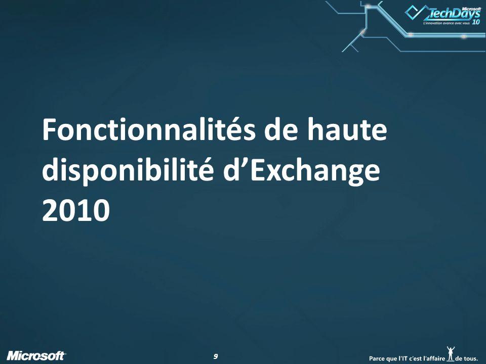 Fonctionnalités de haute disponibilité d'Exchange 2010