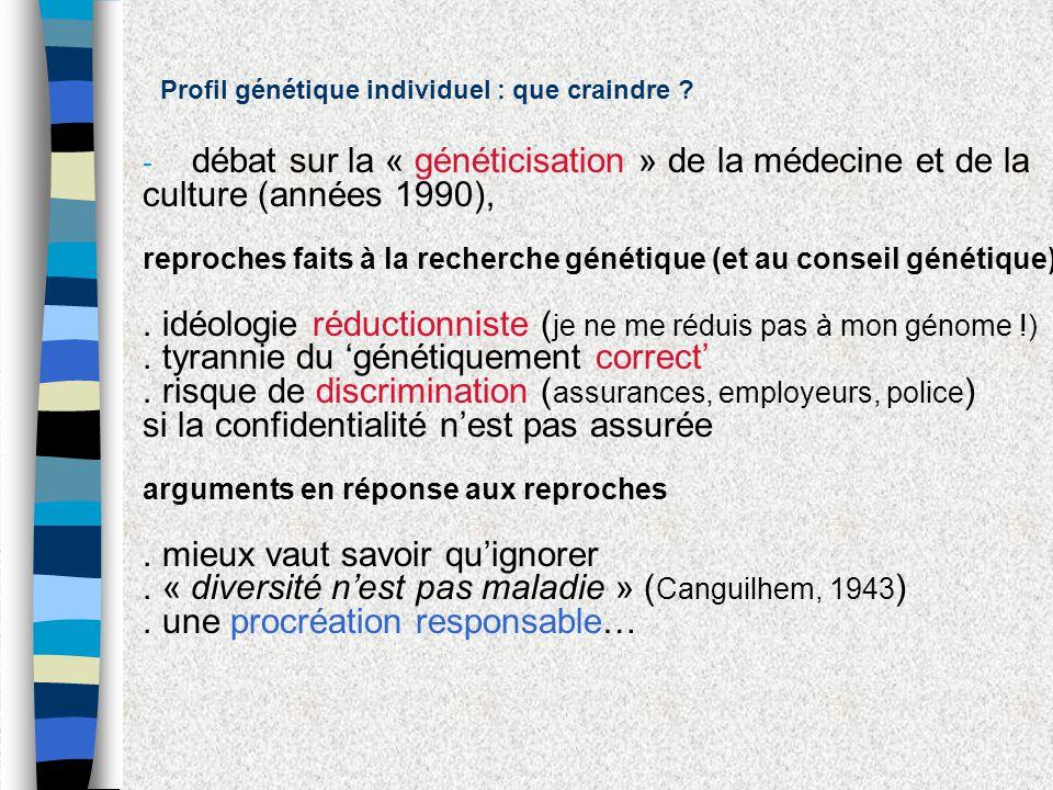débat sur la « généticisation » de la médecine et de la