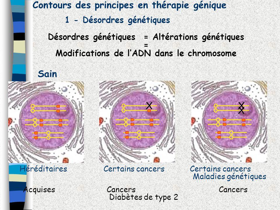 Contours des principes en thérapie génique 1 - Désordres génétiques