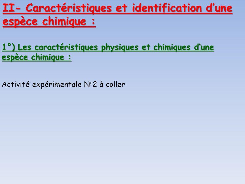 II- Caractéristiques et identification d'une espèce chimique :