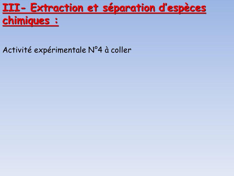 III- Extraction et séparation d'espèces chimiques :