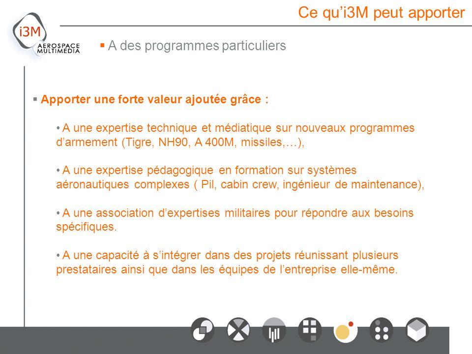 Ce qu'i3M peut apporter A des programmes particuliers