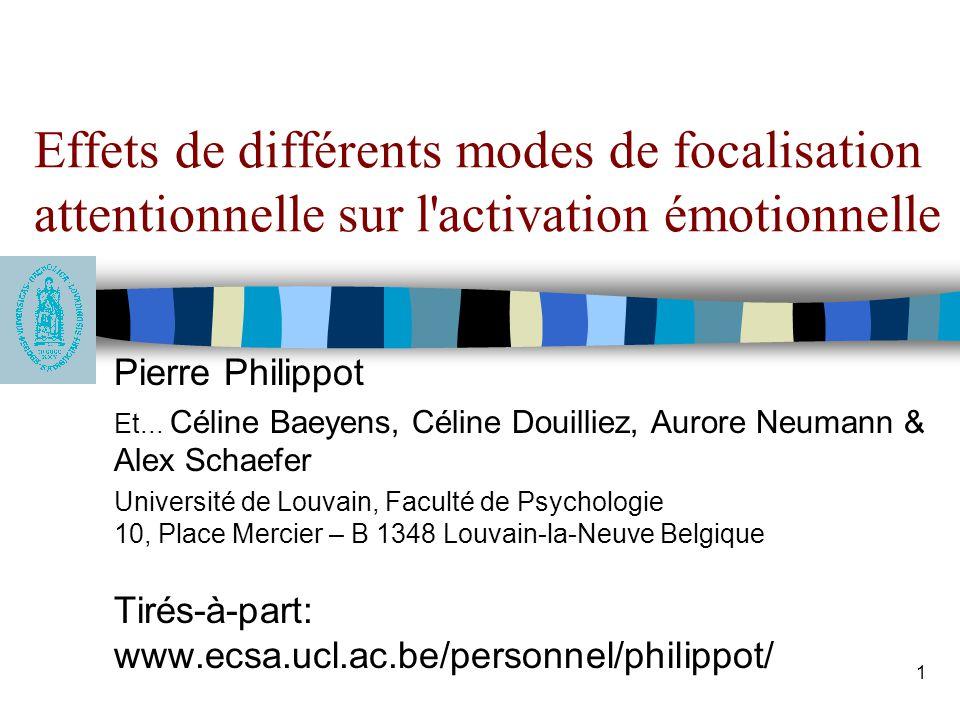 Effets de différents modes de focalisation attentionnelle sur l activation émotionnelle