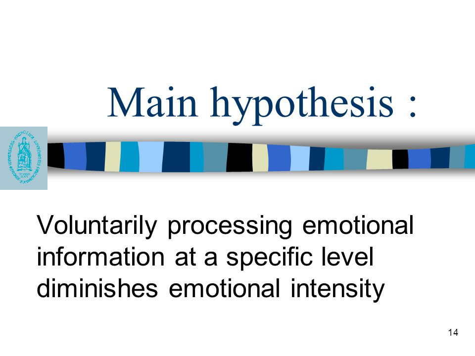 Main hypothesis : Voluntarily processing emotional information at a specific level diminishes emotional intensity.