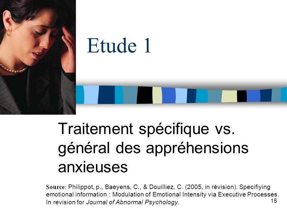 Traitement spécifique vs. général des appréhensions anxieuses