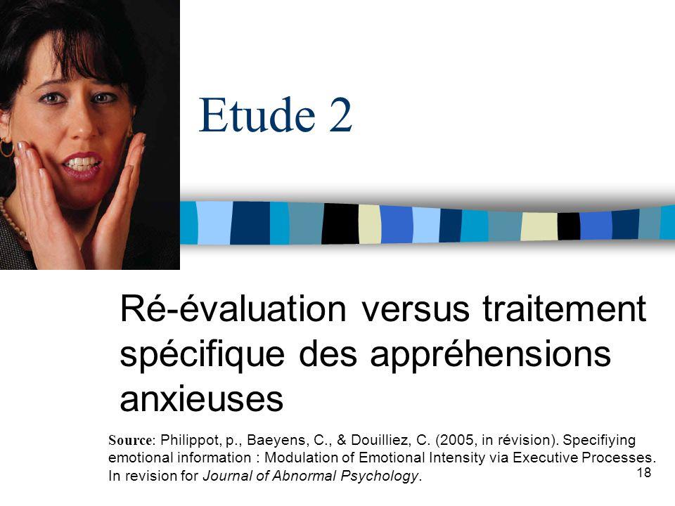 Ré-évaluation versus traitement spécifique des appréhensions anxieuses