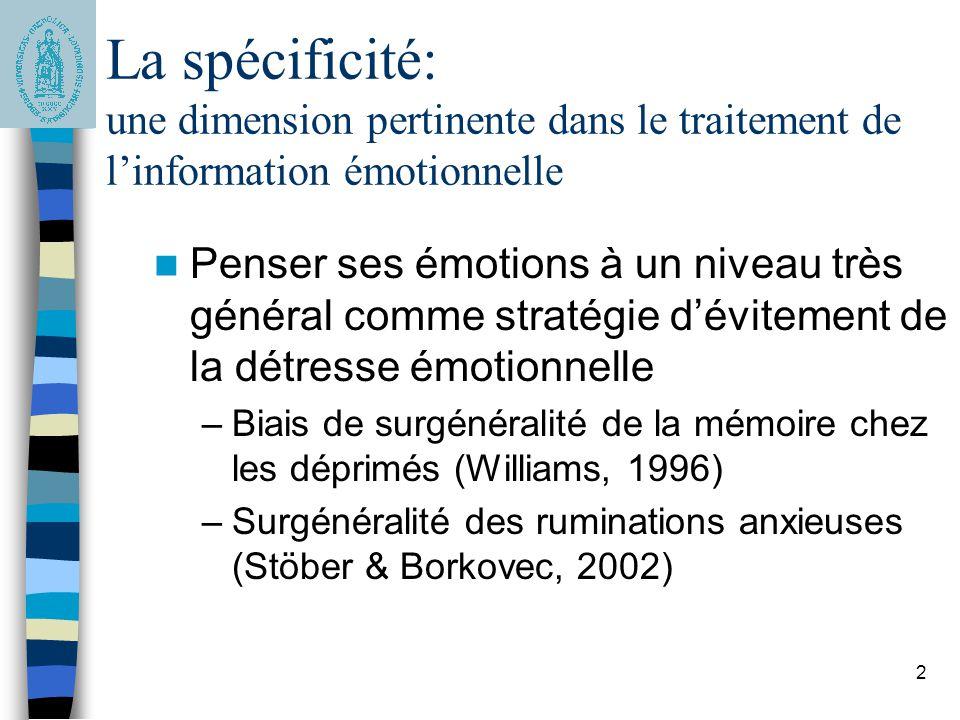 La spécificité: une dimension pertinente dans le traitement de l'information émotionnelle