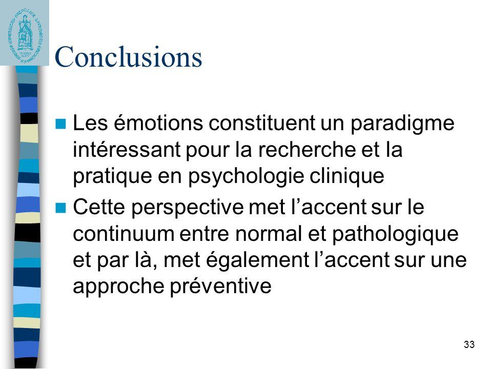 Conclusions Les émotions constituent un paradigme intéressant pour la recherche et la pratique en psychologie clinique.