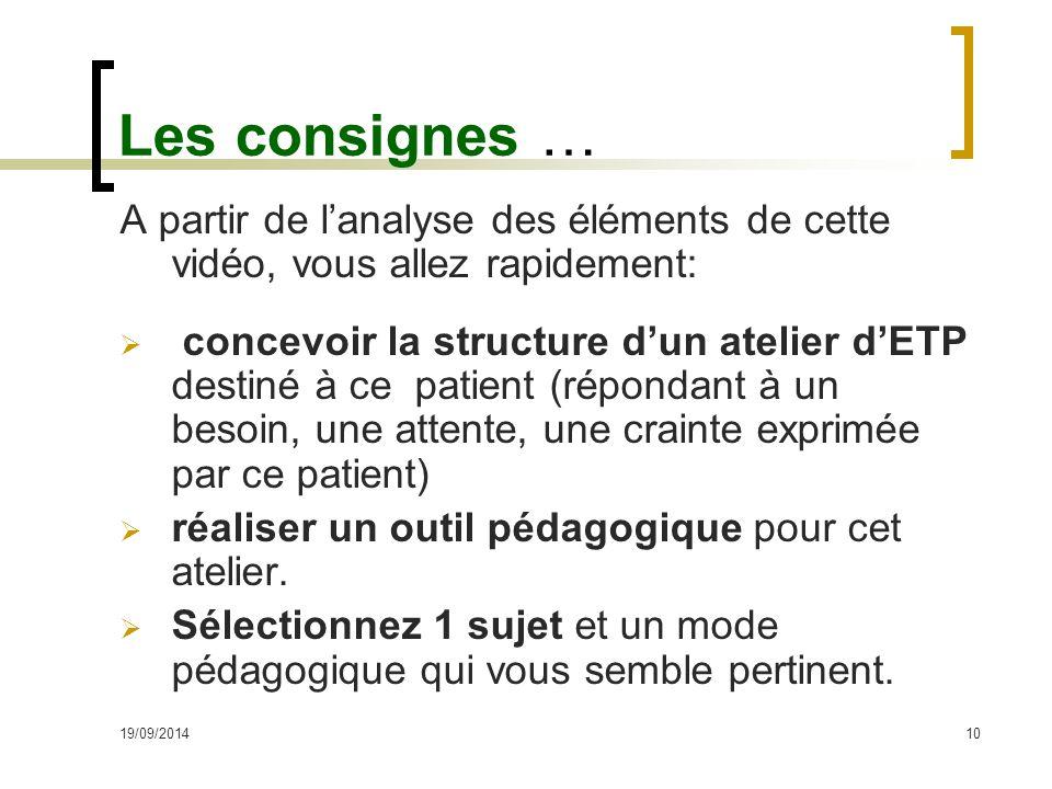 Les consignes … A partir de l'analyse des éléments de cette vidéo, vous allez rapidement: