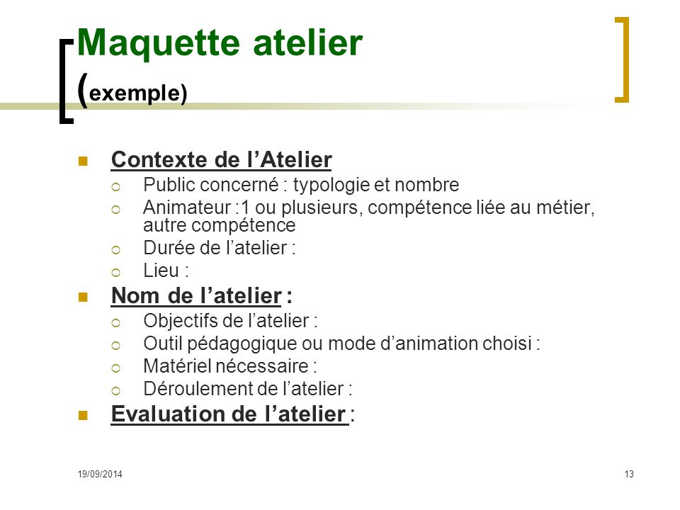 Maquette atelier (exemple)