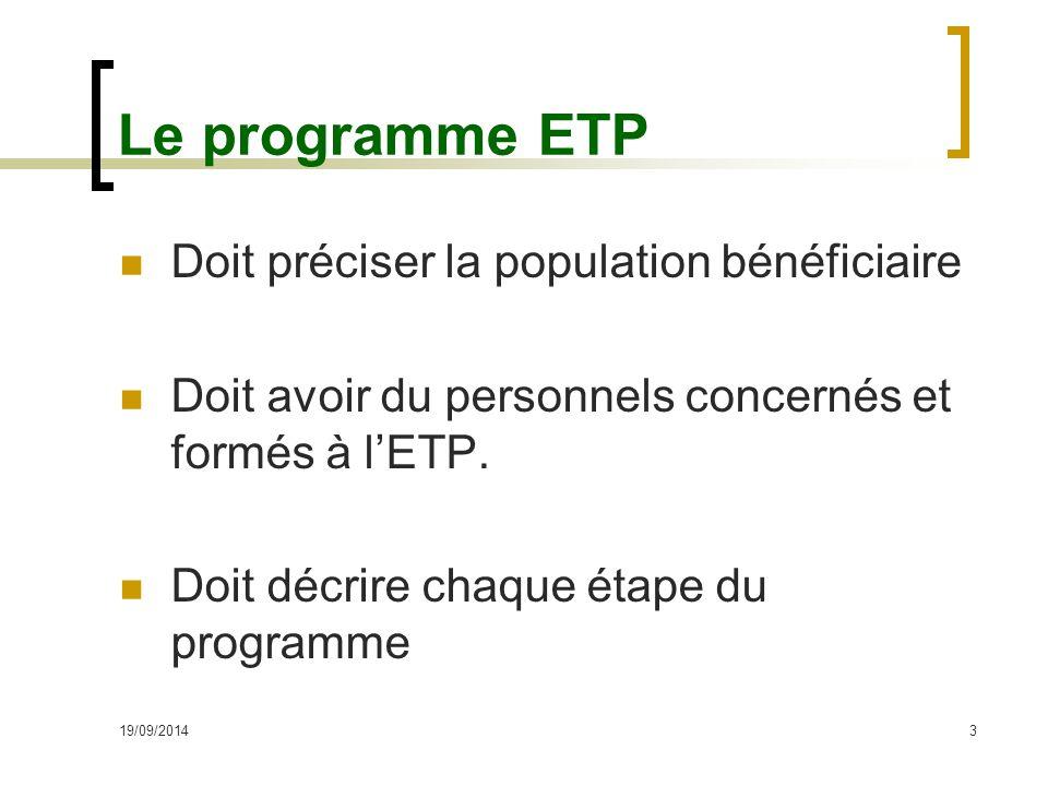 Le programme ETP Doit préciser la population bénéficiaire