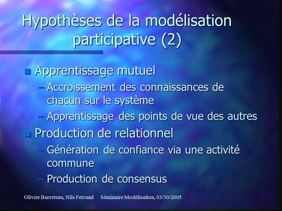 Hypothèses de la modélisation participative (2)