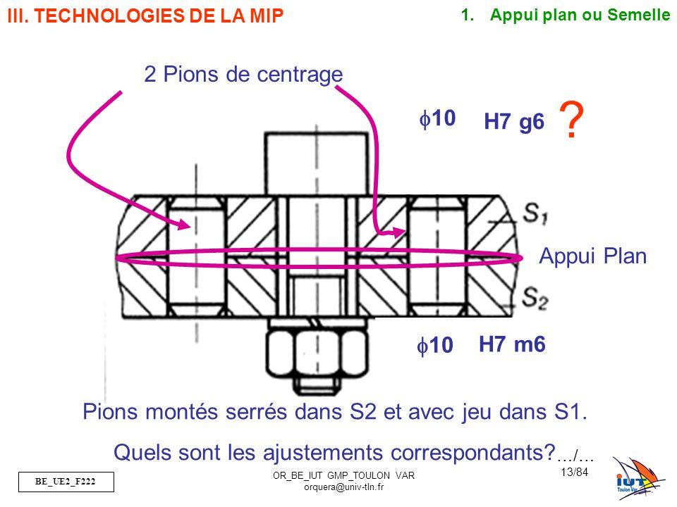 2 Pions de centrage f10 H7 g6 Appui Plan f10 H7 m6