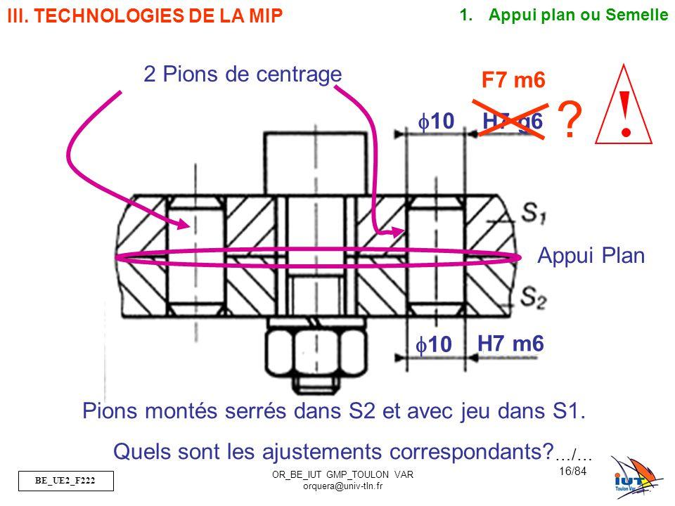 2 Pions de centrage F7 m6 f10 H7 g6 Appui Plan f10 H7 m6