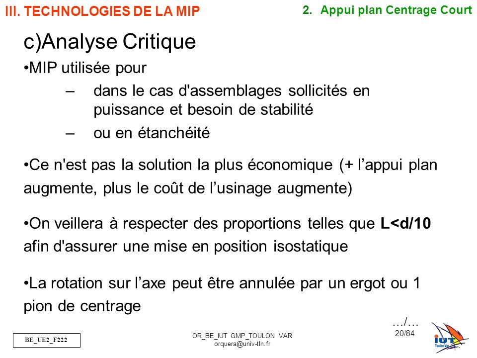 Analyse Critique MIP utilisée pour